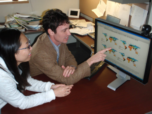 UC Davis postdoc Edith Bai and Benjamin Houlton in 2010. Nitrogen has been a key focus of Houlton's research. In 2015, Houlton's group published on a new isotopic fingerprinting method to trace nitrogen's journey through the global environment.