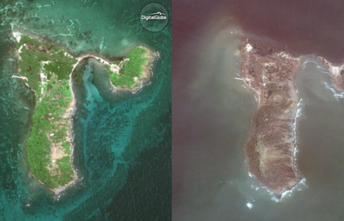 Satellite Images of Cayo Santiago Before and After Hurricane Maria