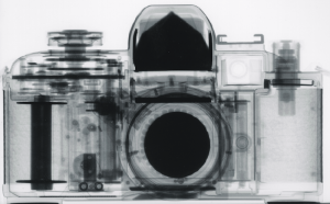Neutron radiograph of a 35 mm film SLR camera.